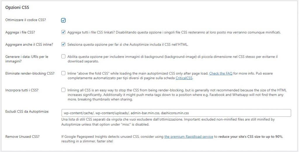 Autoptimize impostazioni per l'ottimizzazione del codice CSS