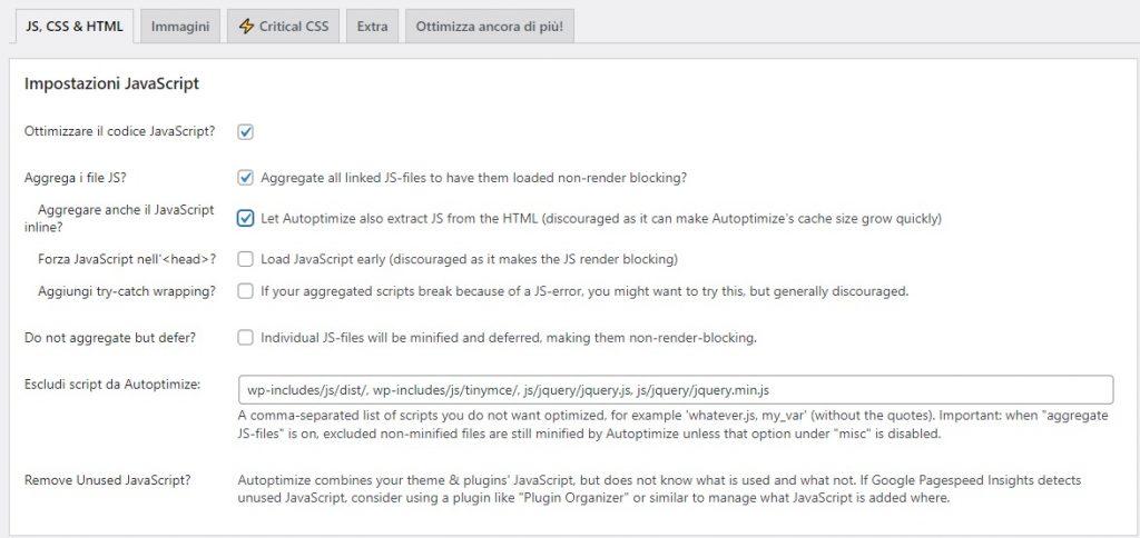 Ottimizzare JavaScrip con Autoptimize