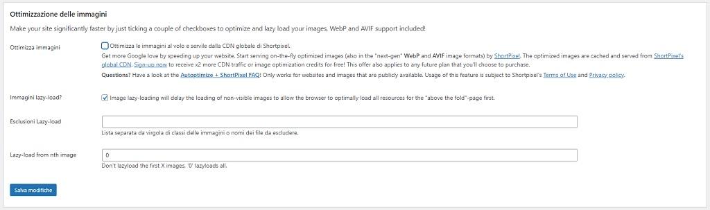 Autoptimize impostazioni di ottimizzazione delle immagini