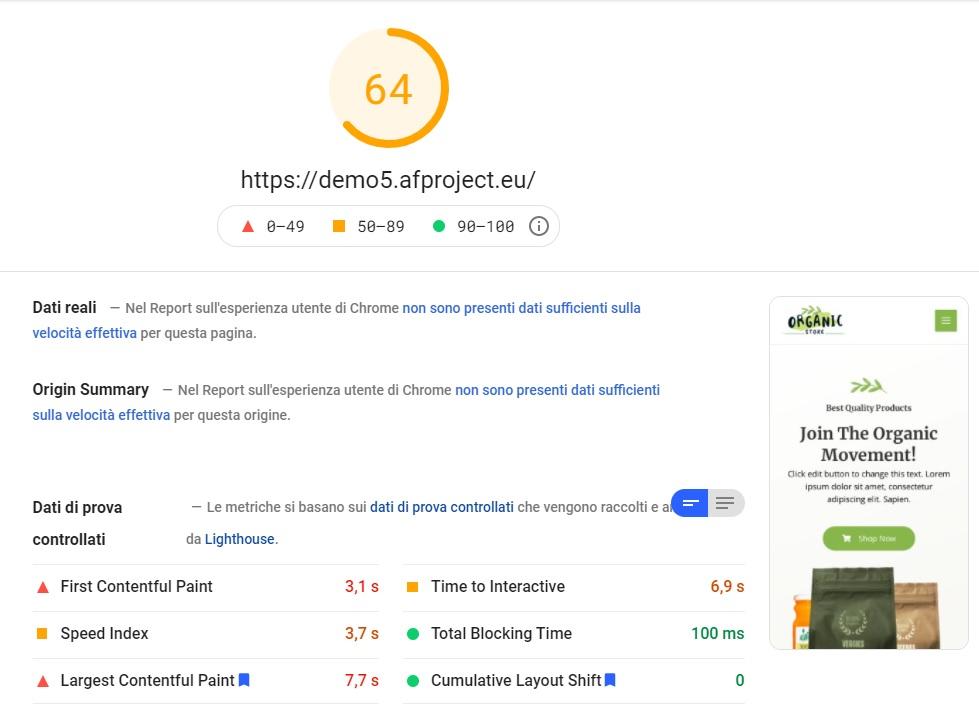 Report Google Page Speed Mobile dopo ottimizzazione