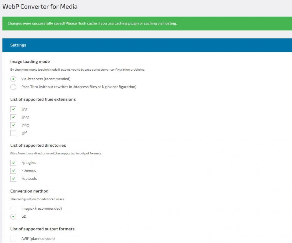 Impostazioni plugin WebP Converter for Media