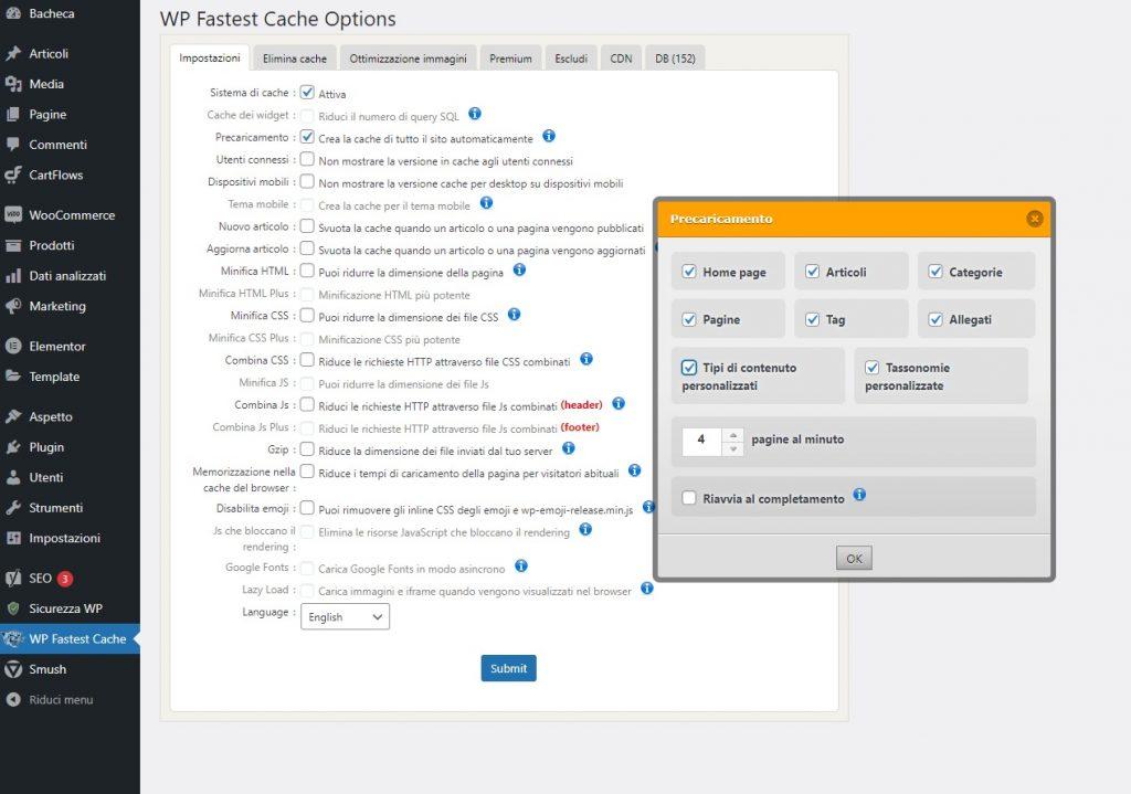 Attivare e configurare WP Fastest Cache