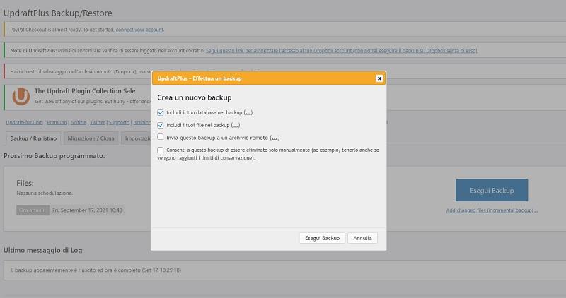 Backup WordPress con UpdrafPlus